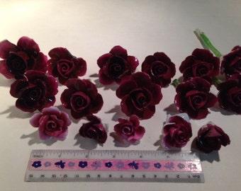 16 Vintage Broken China Burgundy Roses