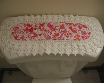 Aunt Roo's MINI Love Hearts, Birds & Floral fabric runner w/ crocheted edging for toilet tank or small shelf