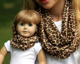 Matching Girl and Doll Accessories Fits American Girl Doll - Animal Print Knit Infinity Scarves