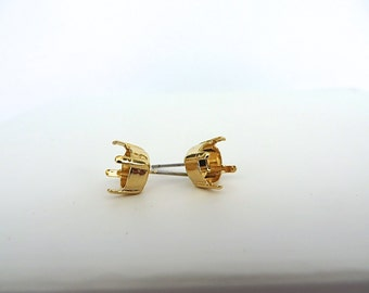 1 Pair Gold Plated Post Stud Earrings for Swarovski 39ss 8mm Chatons