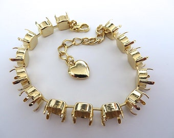 Bracelet Setting Gold Plated Empty Cup Chain for 39ss 8mm Chatons