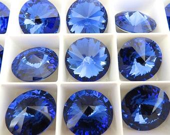 2 Sapphire Foiled Swarovski Rivoli Stone 1122 18mm
