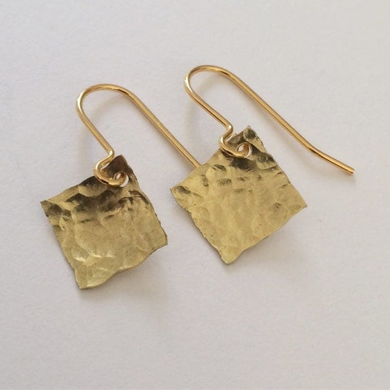 Hammered Raw Brass Square Earrings - Simple - Modern - Geometric - Gold
