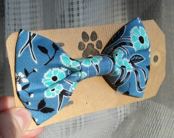 Blue Floral Bow Tie Dogs Cats Pet Collar Wedding Photography Dog Bowtie Bows