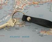 Mens Leather Key Ring Handmade Navy Blue Leather Key Fob Nautical Key Ring With Monogram Groomsmen Gift 3rd Anniversary Gift