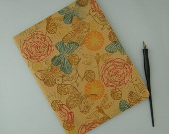 Nature Journal, Hand Printed Notebook, Extra Large Moleskine Cahier, Lined Diary, Flowered Notebook, Bird Journal, Butterfly Notebook