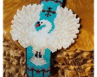 White Swan Hand Beaded Bracelet