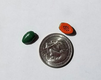 Ceramic Tiny Papaya  Beads