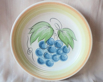Franciscan LARGE FRUIT Bread Plate Dessert Side Grapes Interpace USA 1964