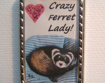 FERRET Keyring/handbag charm with print from original painting by Suzanne Le Good