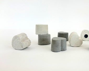 HEART concrete magnets 4-pack