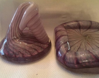 Vintage Hand-blown Amethyst Art Glass 2 pc Incense Burner