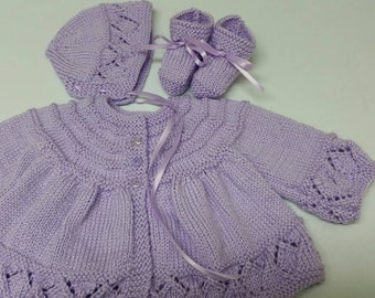 Baby Sweater Set, Hand Knitted Sweater Bonnet Booties, Baby Girl, Reborn Doll, 3-6 Months, Lavender, Baby Shower Gift, Christening, Baptism