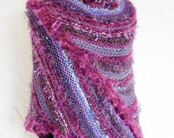 OOAK Handknit Fashion Shawl In Shades of Purple Using Designer and Handknit Yarns