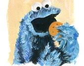 Cookie Monster  (Fine Art Print not a real Muppet)
