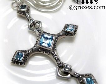 Renaissance Cross Necklace, Blue Topaz, Gothic Silver Pendant, Long Snake Chain