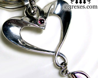 Silver Heart Garnet Necklace With Long Or Short Snake Chain Eros Fairytale Pendant