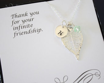 Silver Leaf Necklace Personalized, Silver Leaf, Silver Initial Charm, Evergreen, Monogram Necklace, Bridesmaid Gift, Birthstone Necklace