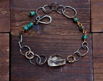 Rock Crystal Quartz Sterling Silver Bracelet - Blue Turquoise Bracelet - Oxidized Silver Link Bracelet - Mixed Metal Gold Silver Bracelet