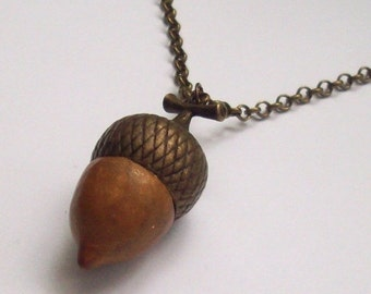 SUMMER SALE Super SALE! Acorn Pendant Brass and Polymer Clay, Autumn Jewelry