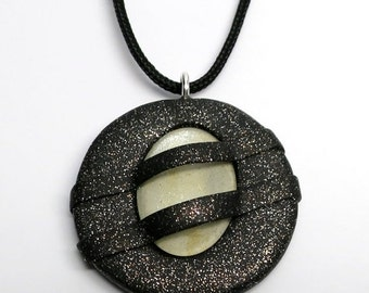 SUMMER SALE Pendant Polymer Clay with Galaxy Glass Cabochon, Black and White
