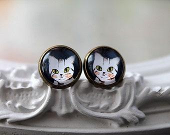 Cat  clip earrings sweet lolita feminine tabby kitty kitten kitteh
