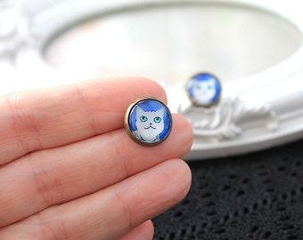 Cat earrings sweet lolita feminine white kitty kitten kitteh post stud