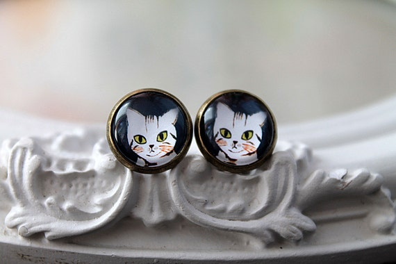 Cat  clip earrings sweet lolita feminine tabby kitty kitten kitteh