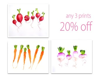 SALE 20% pints Watercolor prints fruit art prints Animals art Art print set off Any 3 prints Butterflies Cats Birds