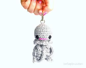 Gray Jellyfish Keychain, Small Grey Amigurumi Jellyfish Bag Charm, Soft Handmade Backpack Buddy Plushie, READY TO SHIP