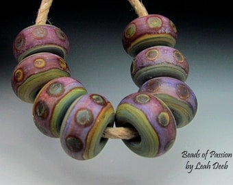 Glass Beads of Passion Handmade Lampwork SRA - 8 Unique Earthy Tribal BHB