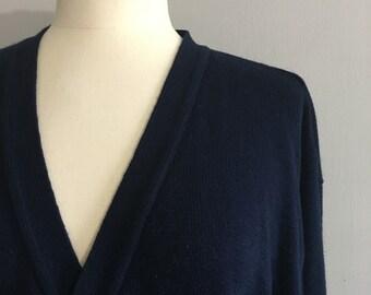 Vintage Navy blue cardigan grandpa cardigan oversized cardigan slouchy blue cardigan