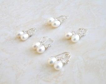 Teardrop Pearl Sterling Silver Wire Wrapped Dangle Earrings