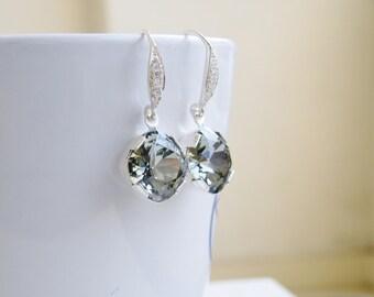 Swarovski Earrings Black Diamond Grey Gray Cushion Earrings Crystal Foiled