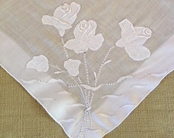 Vintage White Hanky with Hand Embroidered Flowers - Hankie Handkerchief