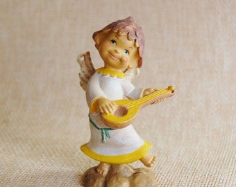 Vintage Christmas Ornament Angel Playing a Lute Italian Xmas Italy 1960s