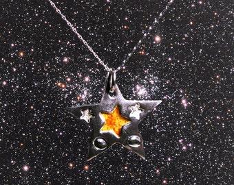 Enamelled Solid Silver Star Meteorite Necklace-
