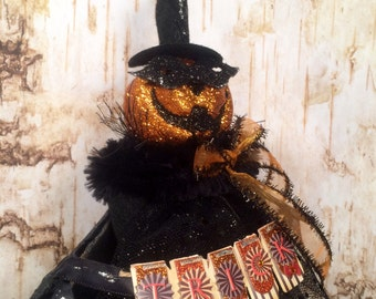 Pumpkin tree topper jack o lantern centerpiece witch doll halloween tree topper black orange mascaraed jack o lantern party decor vintage