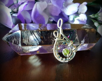 Sterling Silver Wire Wrapped Pendant with Peridot