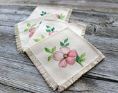Dainty Pink Flower Luncheon Napkins, Victorian Inspired Floral Cloth Napkins, Shabby Chic Pink Flower Napkins, baby shower napkins