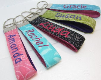 Personalized Wristlet Key Chain,  Monogram Keychain, Teacher or Bridesmaid Personalized Gift , Keychain, Teacher Appreciation Gift,