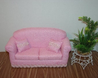 Fashion Doll Sofa Pink, fits 11 1/2 Inch dolls Handmade Dollhouse Furniture
