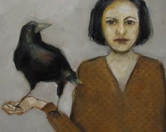 Abstract Art Figure Figurative Portrait Giclee Print Colette Davis - BIRD WATCHING # 2, Crow, Bird