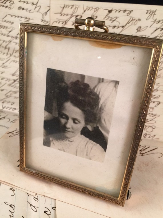vintage small convex glass metal stand up picture frame