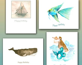 Coastal Birthday cards, nautical birthday cards, 8 per boxed set. mermaid watercolor, sperm whale card, tropical fish, J.boat painting
