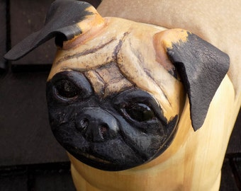 A Pug dog Wooden Footstool