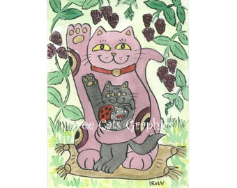 Raspberry Inspired Luck - Choose from ACEO Print, Note Cards, or Art Print