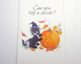 Vintage Unused Halloween Greeting Card with Black Cat in Witch Hat Mouse and Jack O Lantern by American Greetings
