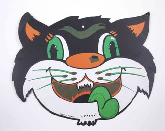 Vintage Black Cat Face with Green Tongue Halloween Die Cut Decoration
