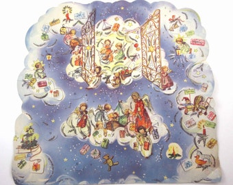 Vintage Christmas Advent Calendar with Angels Clouds Glitter Accents Made in Western Germany